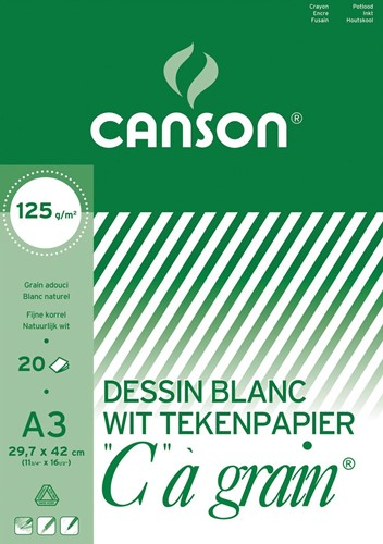 Canson tekenblok C à grain 125 g/m², ft 29,7 x 42 cm (A3)