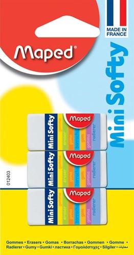Maped potloodgom Softy mini formaat, blister met 3 stuks