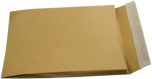 Gallery enveloppen met balg ft 250 x 350 x 40 mm, stripsluiting, bruine kraft, doos van 250 stuks