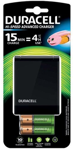 Duracell batterijlader Hi-Speed Advanced Charger, inclusief 2 AA en 2 AAA batterijen, op blister 1 Stuk