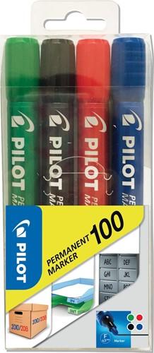 Pilot permanent marker 100, blister met 4 stuks in geassorteerde kleuren 4 Stuk