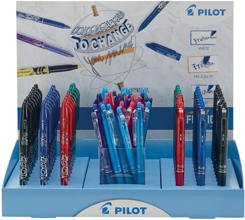 Pilot gelroller Frixion Ball 60 stuks + Frixion Ball Clicker 60 stuks, display