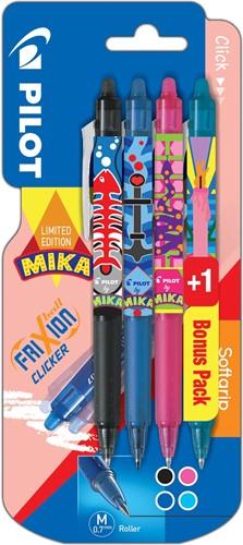 Pilot roller FriXion Clicker Mika, blister van 3+1 stuks in geassorteerde kleuren, lichtblauw gratis