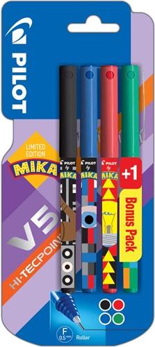 Pilot roller V-5 Mika, blister van 3+1 stuks gratis in geassorteerde kleuren