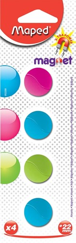 Maped magneten op blister diameter 22 mm, 4 stuks, 1 kleur per blister (groen, blauw of fuchsia)