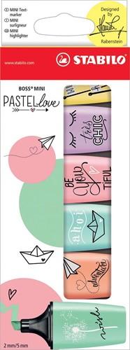 STABILO BOSS MINI Pastellove markeerstift, doosje van 6 stuks in geassorteerde pastelkleuren 6 Stuk