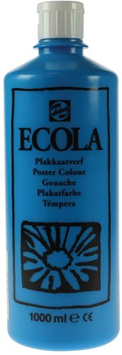 Talens Ecola plakkaatverf flacon van 1000 ml, lichtblauw