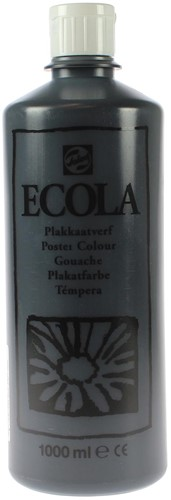 Talens Ecola plakkaatverf flacon van 1000 ml, zwart