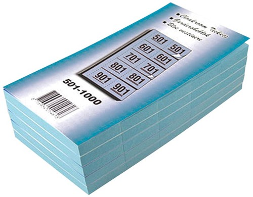 Garderobeblokken nummers van 501 t.e.m. 1.000, blauw