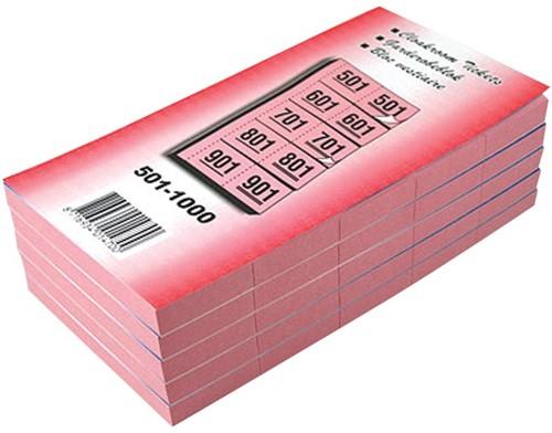 Garderobeblokken nummers van 501 t.e.m. 1.000, kers