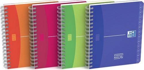 Oxford Office My Colours addressbook, 160 bladzijden, ft 12 x 14,8 cm, geassorteerde kleuren 1 Stuk
