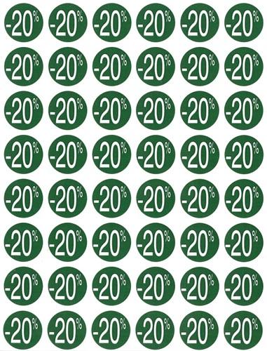 Agipa Kortinglabel -20%, groen, pak van 192 stuks, verwijderbaar