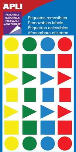 Apli verwijderbare etiketten geassorteerde vormen, 112 stuks