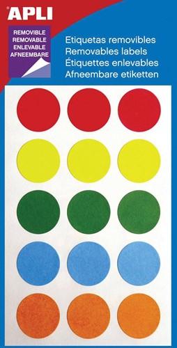Apli verwijderbare etiketten cirkel 19 mm (b x h), 60 stuks