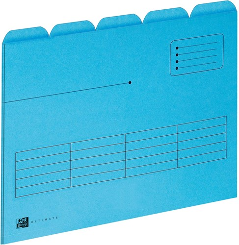 OXFORD Ultimate dossiermap, formaat A4, uit karton, met 5 tabs, pak van 5 stuks, blauw
