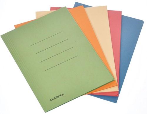 Class'ex dossiermap, 3 kleppen ft 18,2 x 22,5 cm (voor ft schrift), geassorteerde kleuren