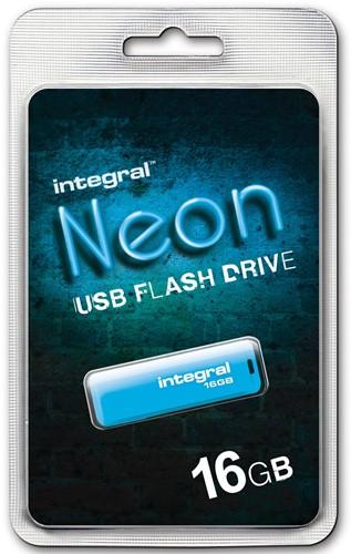 Integral Neon USB 2.0 stick, 16 GB, blauw 1 Stuk