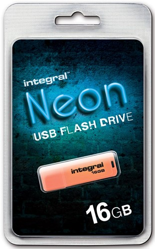 Integral Neon USB 2.0 stick, 16 GB, oranje 1 Stuk