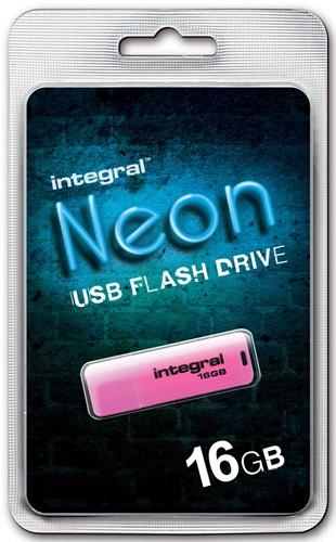 Integral Neon USB 2.0 stick, 16 GB, roze 1 Stuk