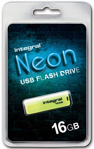 Integral Neon USB 2.0 stick, 16 GB, geel 1 Stuk