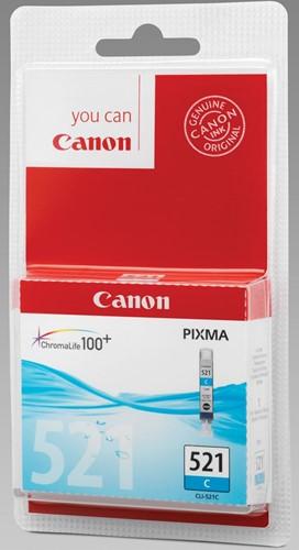 Canon inktcartridge CLI-521C, 448 pagina's, OEM 2934B009, met beveiligingsysteem, cyaan