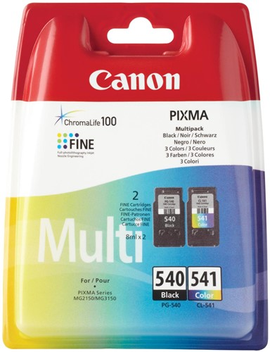 Canon inktcartridge PG-540 en CL-541, 180 pagina's, OEM 5225B006, 4 kleuren 2 Stuk