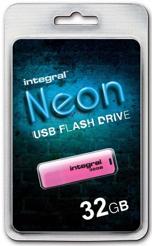 Integral Neon USB 2.0 stick, 32 GB, roze 1 Stuk