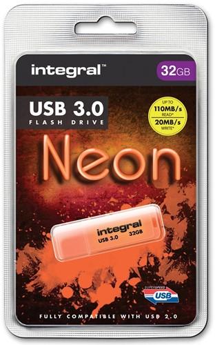 Integral Neon USB 3.0 stick, 32 GB, oranje