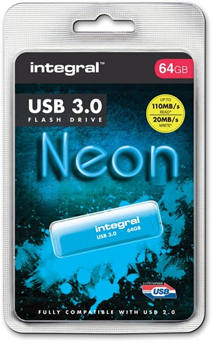 Integral Neon USB 3.0 stick, 64 GB, blauw