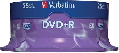 Verbatim DVD recordable DVD+R, spindel van 25 stuks 25 Stuk