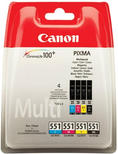 Canon inktcartridge CLI-551, 300-500 pagina's, OEM 6509B008, 4 kleuren 4 Stuk