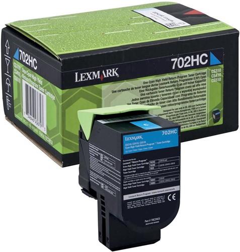 Lexmark toner cyaan return program 702HC, 3000 pagina's - OEM: 70C2HC0 1 Stuk