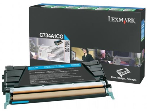 Lexmark Toner Kit cyaan return program - 6000 pagina's - C734A1CG 1 Stuk