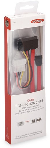 Ednet SATA kabel I-type - L-type, 0,5 meter