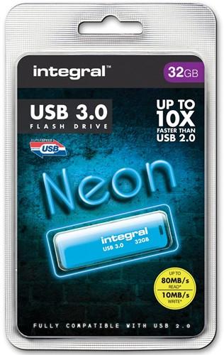 Integral Neon USB 3.0 stick, 32 GB, blauw
